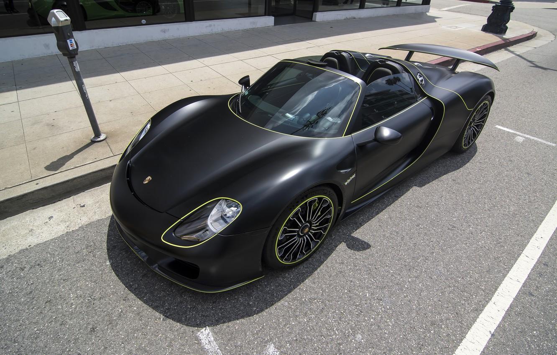 Photo wallpaper black, Porsche, Porsche 918 Spyder, Wrapped Porsche 918 Spyder