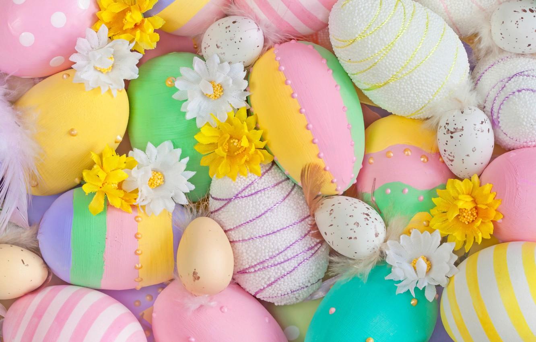 Photo wallpaper flowers, eggs, Easter, Easter