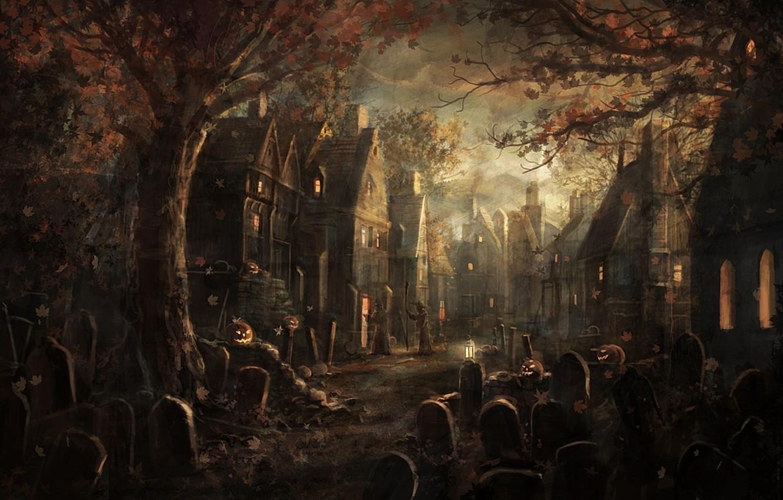 Photo wallpaper leaves, trees, graves, village, pumpkin, plate, maple, halloween, Halloween, gloom