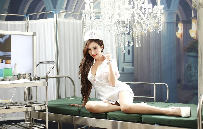 Photo wallpaper bed, chandelier, screen, Asian, nurse