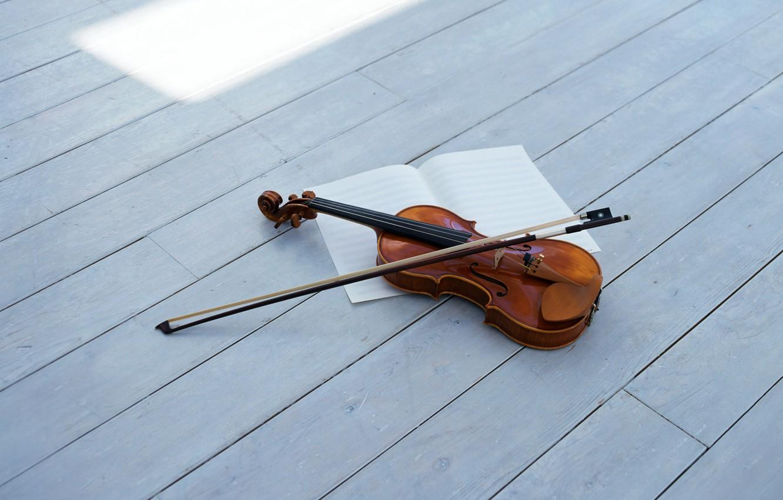 Photo wallpaper violin, bow, violin, string musical instrument, string musical instrument, bow
