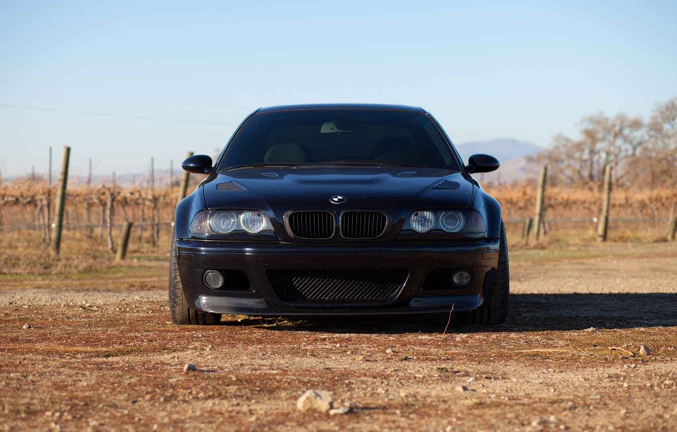 Photo wallpaper the sky, black, bmw, BMW, coupe, shadow, black, e46, tinted