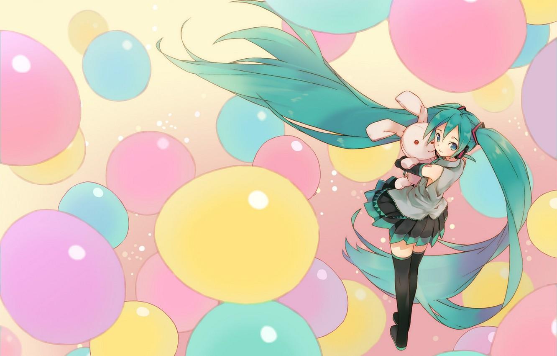 Photo wallpaper girl, balls, toy, hare, headphones, art, form, Hatsune Miku, Vocaloid, Vocaloid