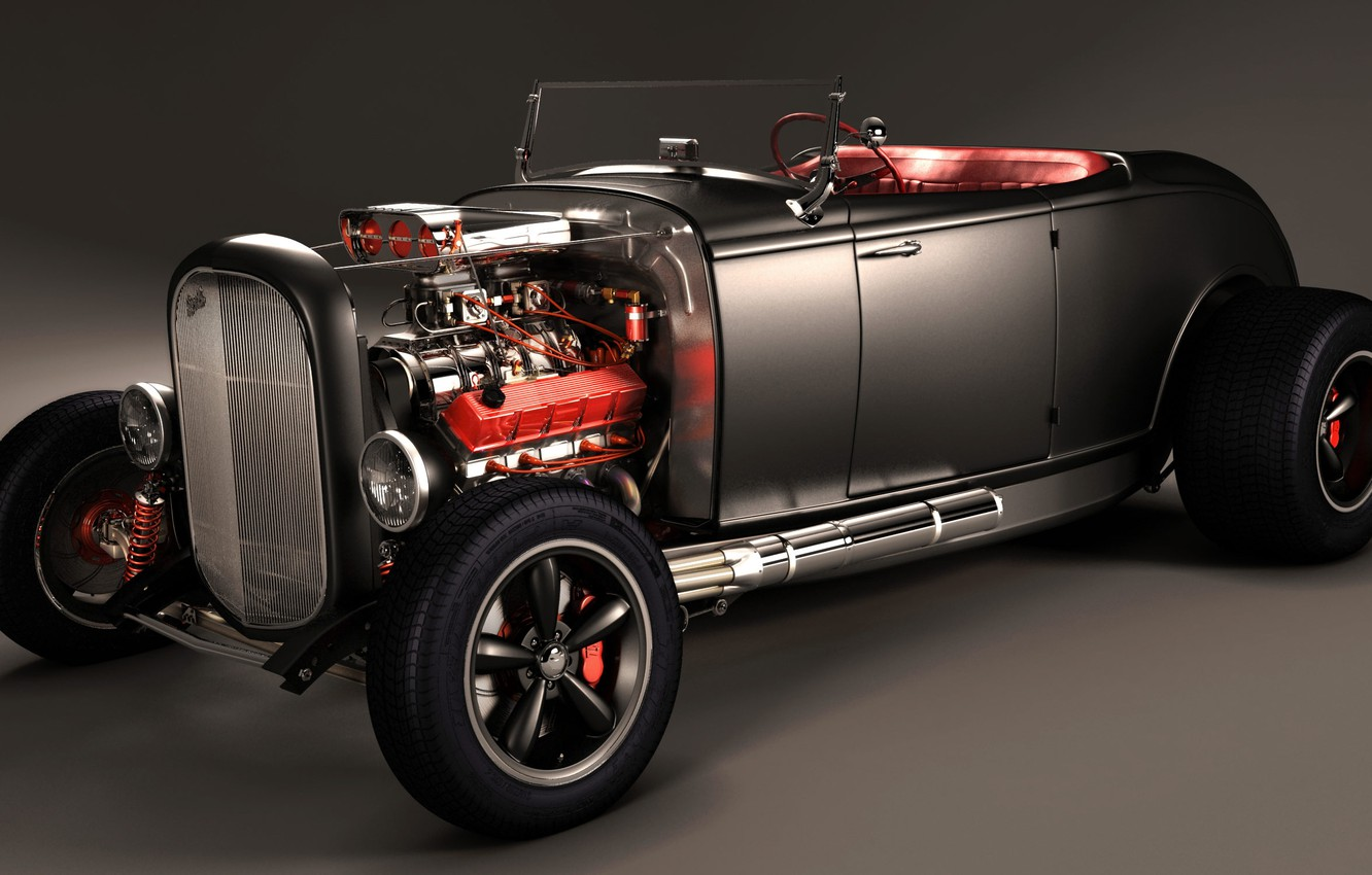 Photo wallpaper Car, Classic, Black, Tuning, Customize, V8 Engine, Super Charger, Tuned
