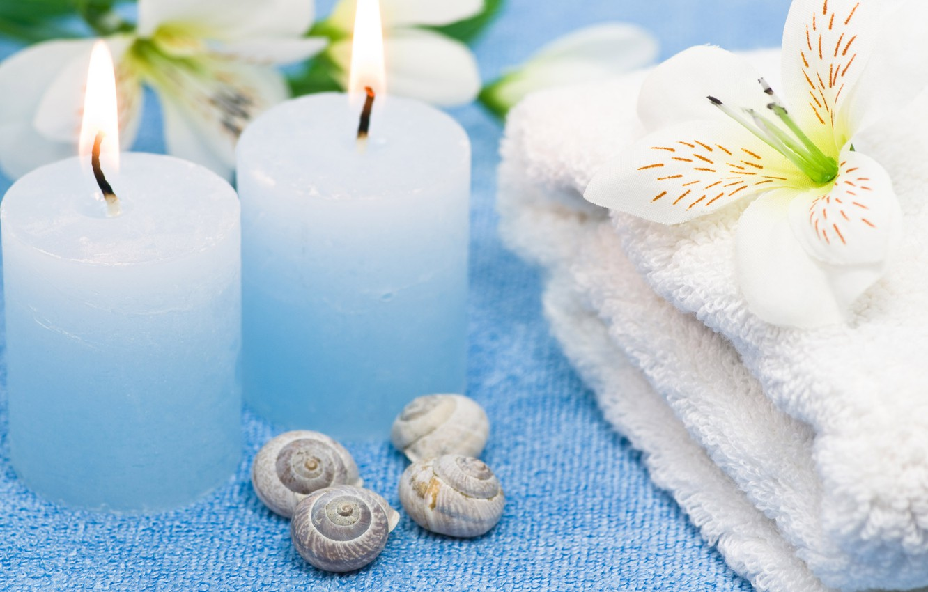 Photo wallpaper flowers, flame, tenderness, towel, candles, Spa