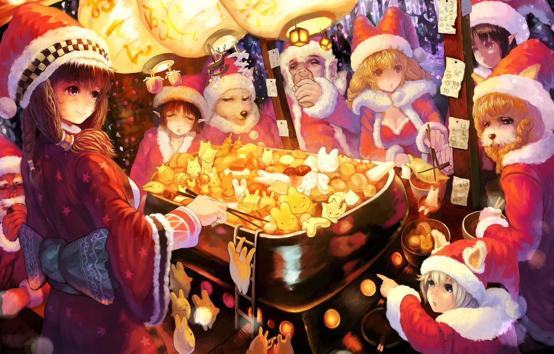 Photo wallpaper hat, new year, tale, lights, neko, bunnies, appetizer, sakai yoshikuni, roaster