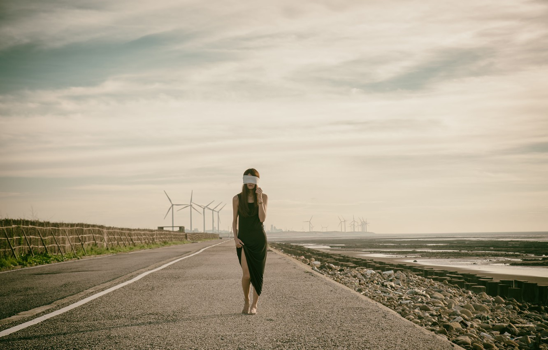 Photo wallpaper road, girl, headband