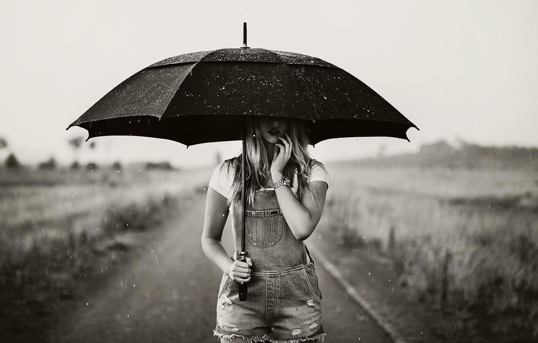 Photo wallpaper girl photo rain white umbrella black