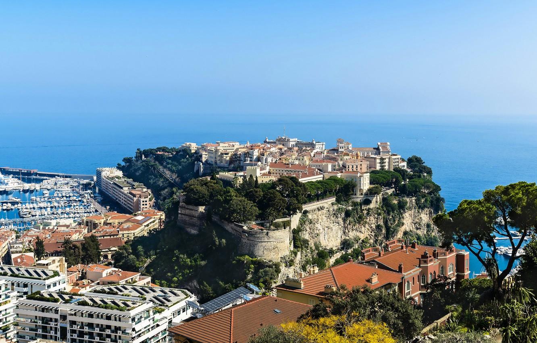 Photo wallpaper sea, the city, rocks, coast, home, horizon, the view from the top, Monaco, piers