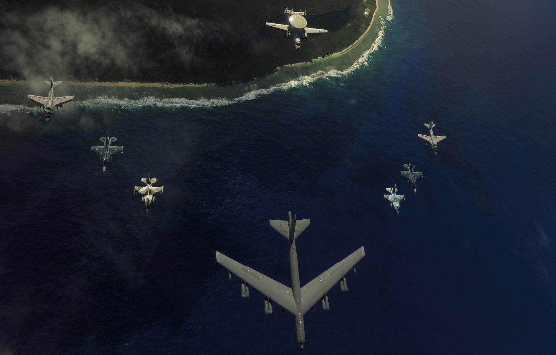 Photo wallpaper wallpaper, sea, aviation