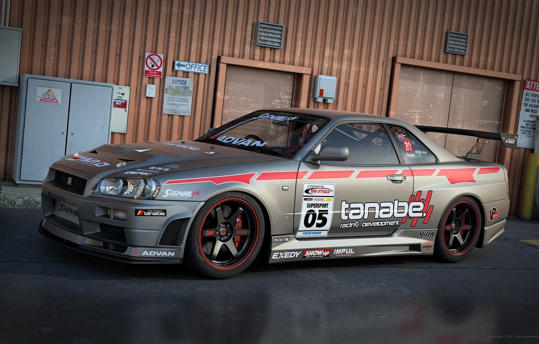 Photo wallpaper Nissan, Nissan, Car, Skyline, R34, Skyline, Racing, by Dangeruss, Spec II, Tanabe