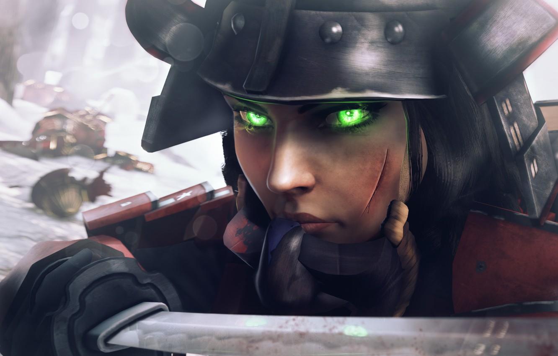 Photo wallpaper winter, look, girl, sword, katana, samurai, helmet, Elizabeth, BioShock Infinite