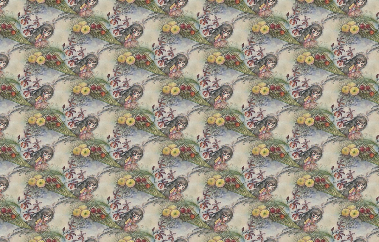 Photo wallpaper flowers, background, texture, anime, art, girl, juri ueda