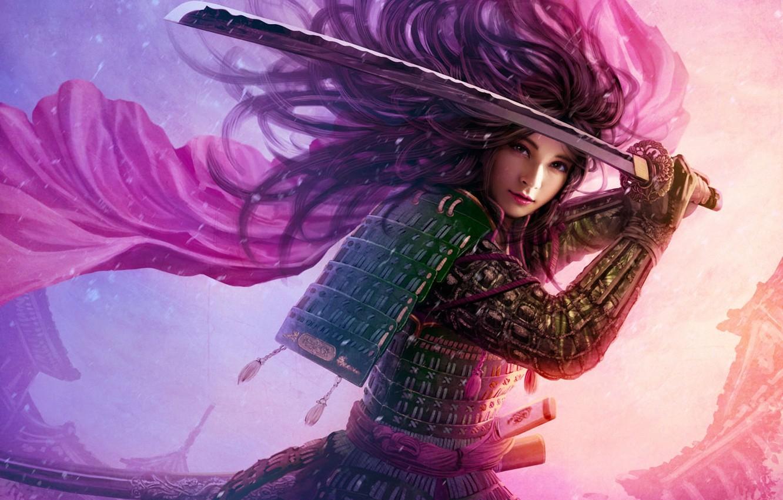 Photo wallpaper girl, the wind, hair, Asia, sword, katana, art, armor, cloak, mario wibisono, utaku ji-yun, legend …