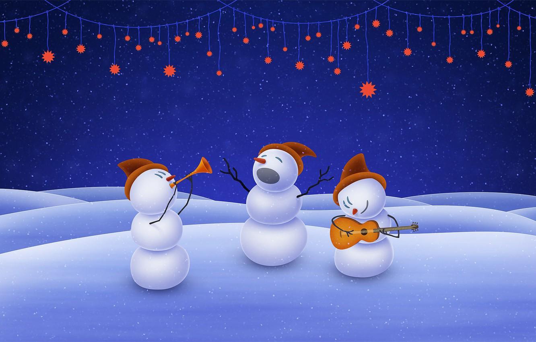 Photo wallpaper music, christmas, stars, snowman