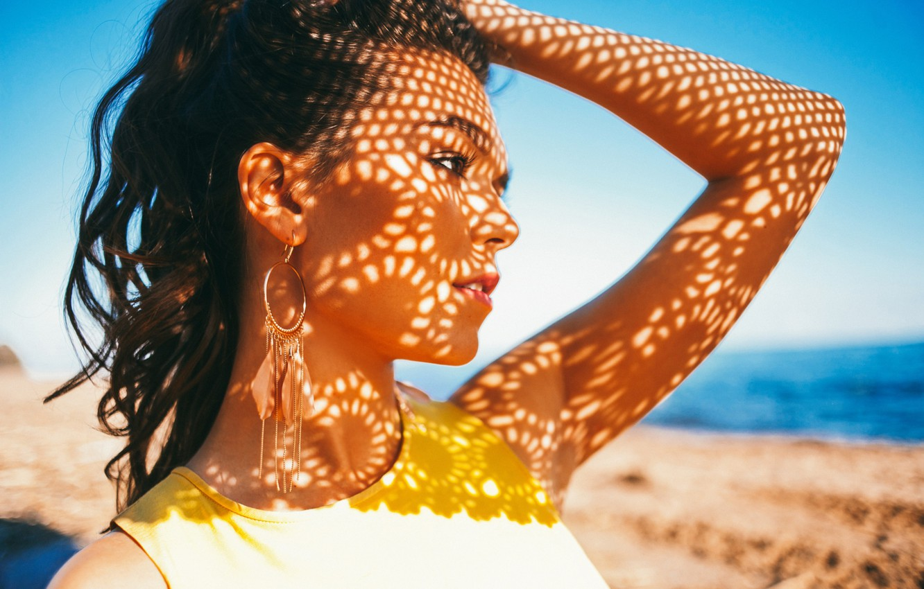 Photo wallpaper summer, girl, light, face, heat, patterns, the game, portrait, shadows