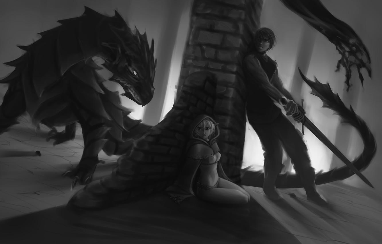 Photo wallpaper girl, fear, dragon, elf, sword, art, black and white, guy