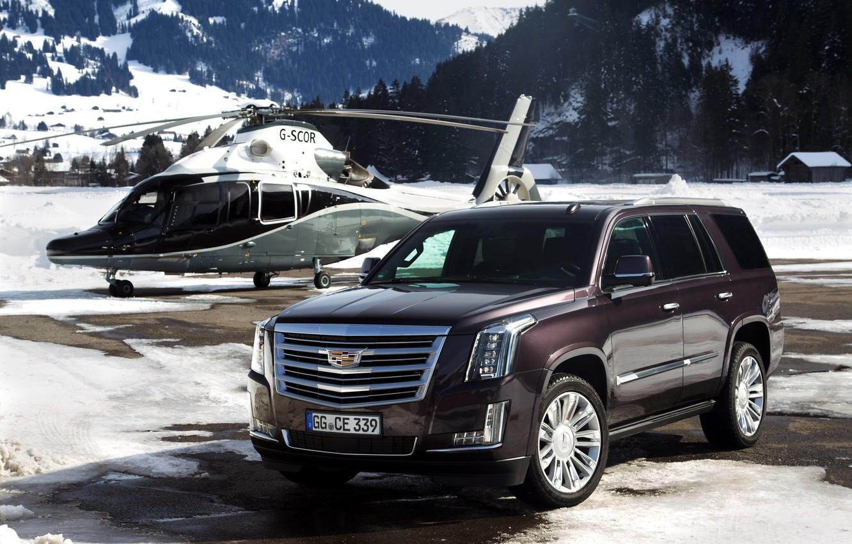 Photo wallpaper snow, mountains, Cadillac, helicopter, Escalade, Cadillac, 2015, EU-spec, Escalade