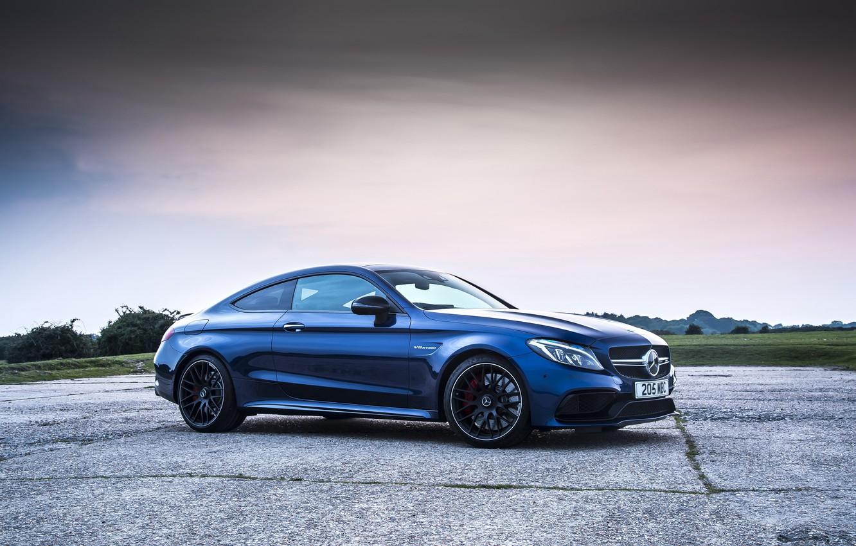 Photo wallpaper blue, Mercedes-Benz, Mercedes, AMG, Coupe, C-Class, C205