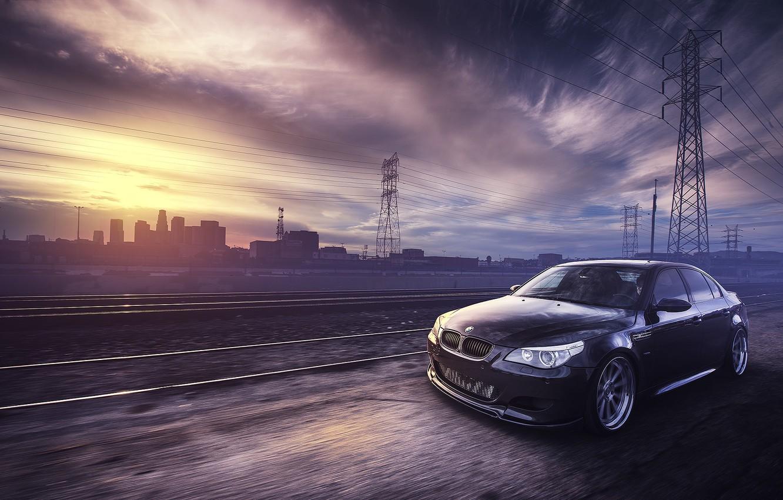 Photo wallpaper rails, BMW, Power lines, black, front, E60