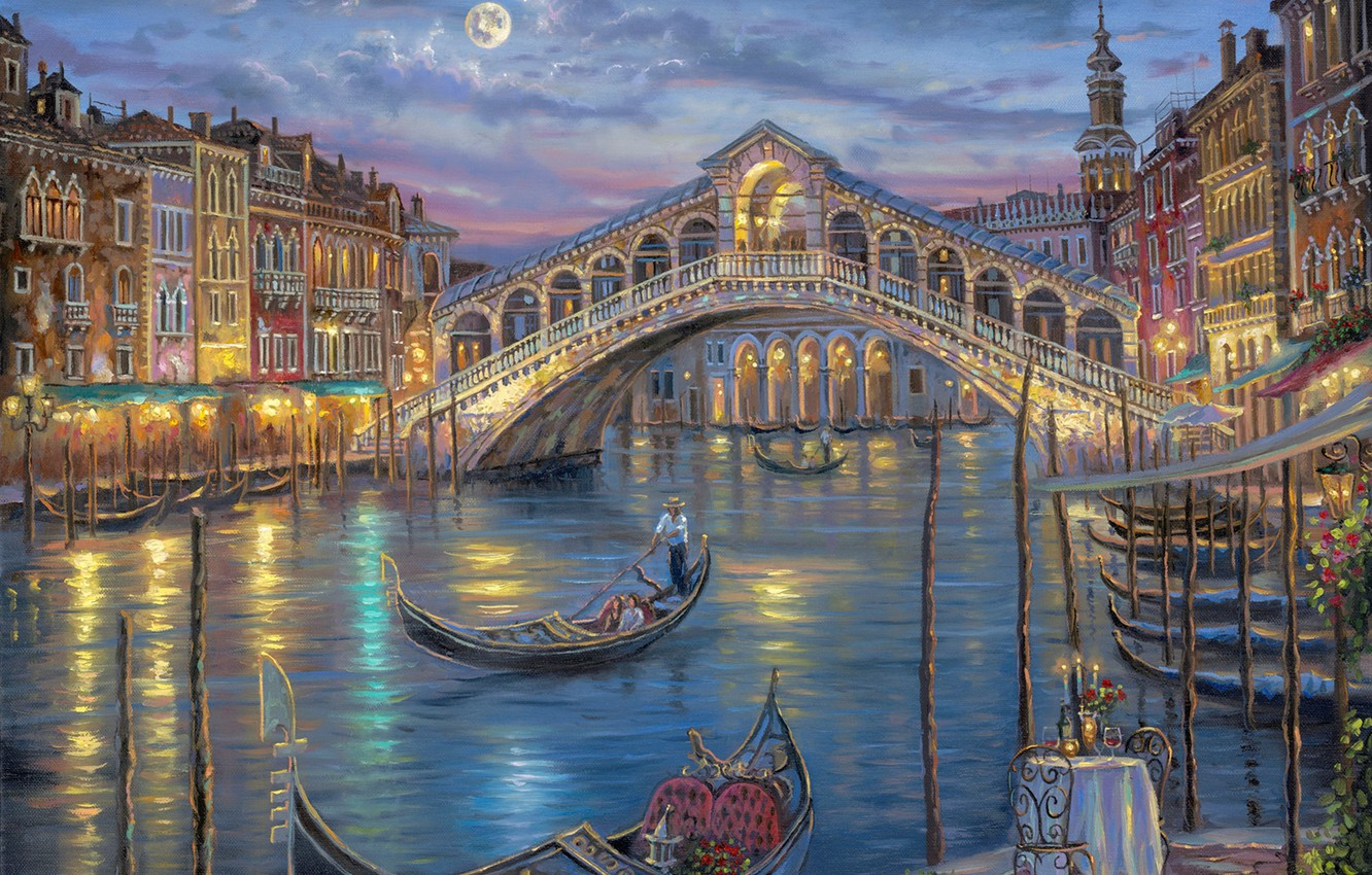 Photo wallpaper flowers, night, bridge, the moon, romance, candles, Italy, Venice, channel, painting, Robert Finale, table, the …