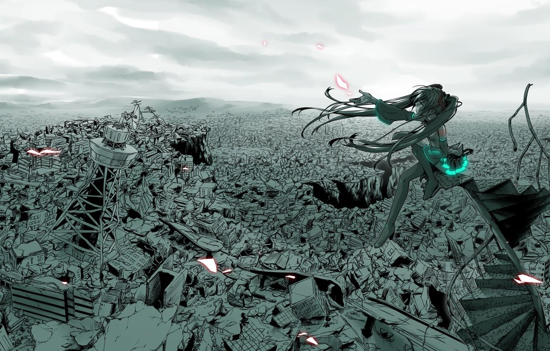 Photo wallpaper the city, Disaster, vocaloid, hatsune miku