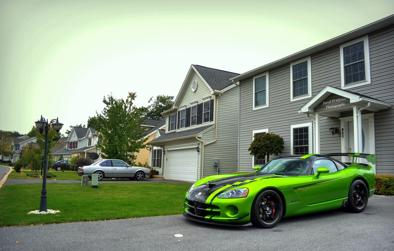 Photo wallpaper green, Dodge, Viper, ACR, SRT-10, Snakeskin Edition