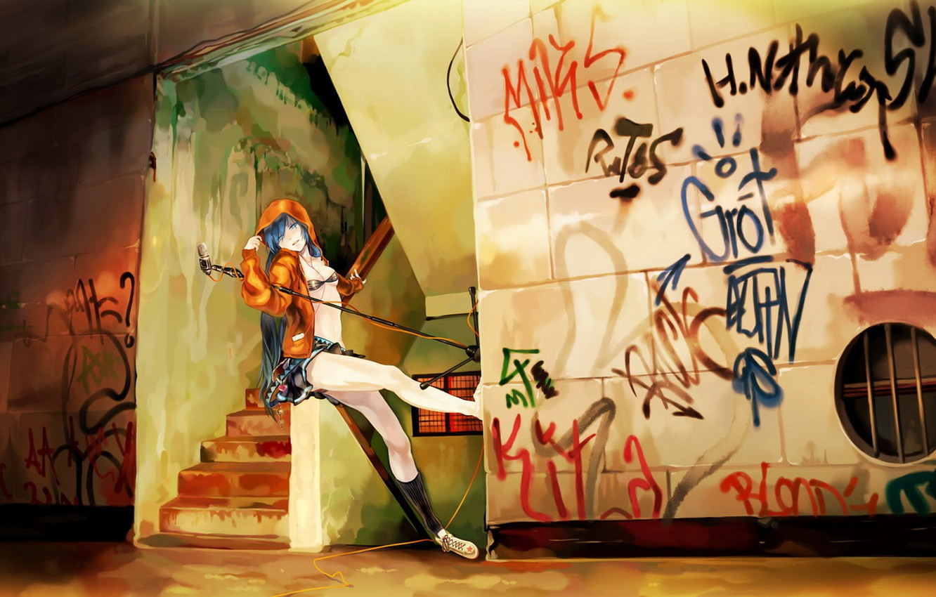 Photo wallpaper music, wall, graffiti, anime, microphone, Vocaloid, Miku