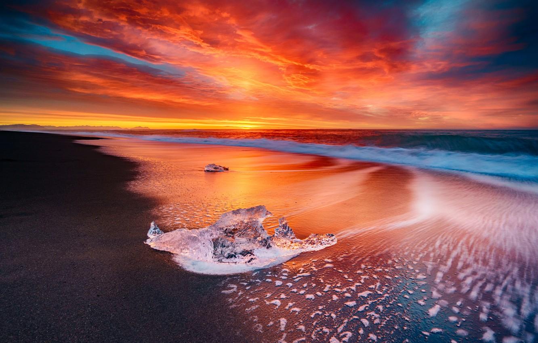 Photo wallpaper Sky, Fire, Beach, Sun, Water, Sunset, Iceland, Ice, Sea