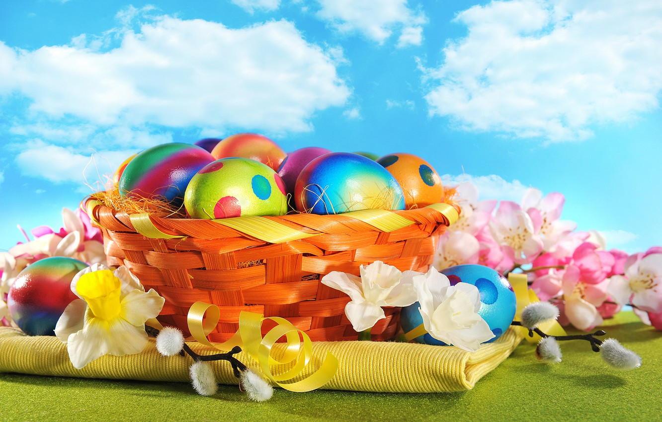 Photo wallpaper flowers, eggs, spring, colorful, Easter, happy, wood, flowers, spring, Easter, eggs, holiday
