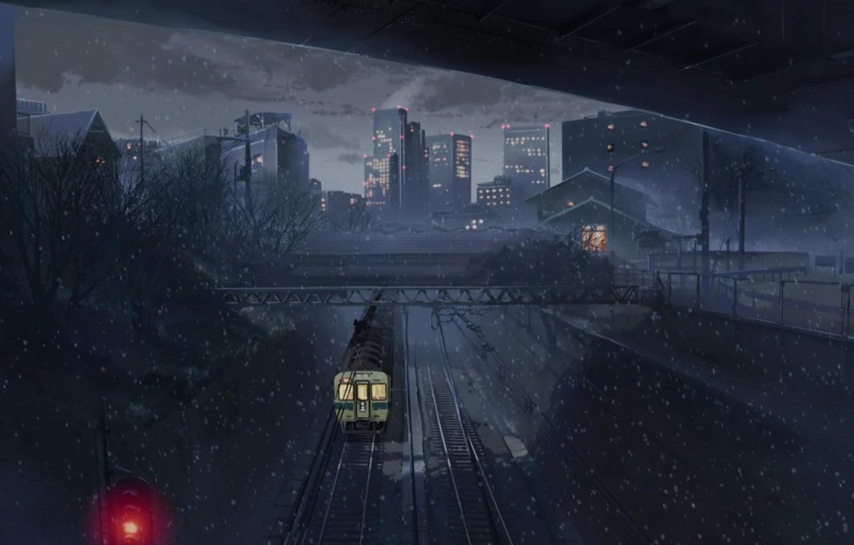 Photo wallpaper train, Makoto Xingkai, five centimeters per second