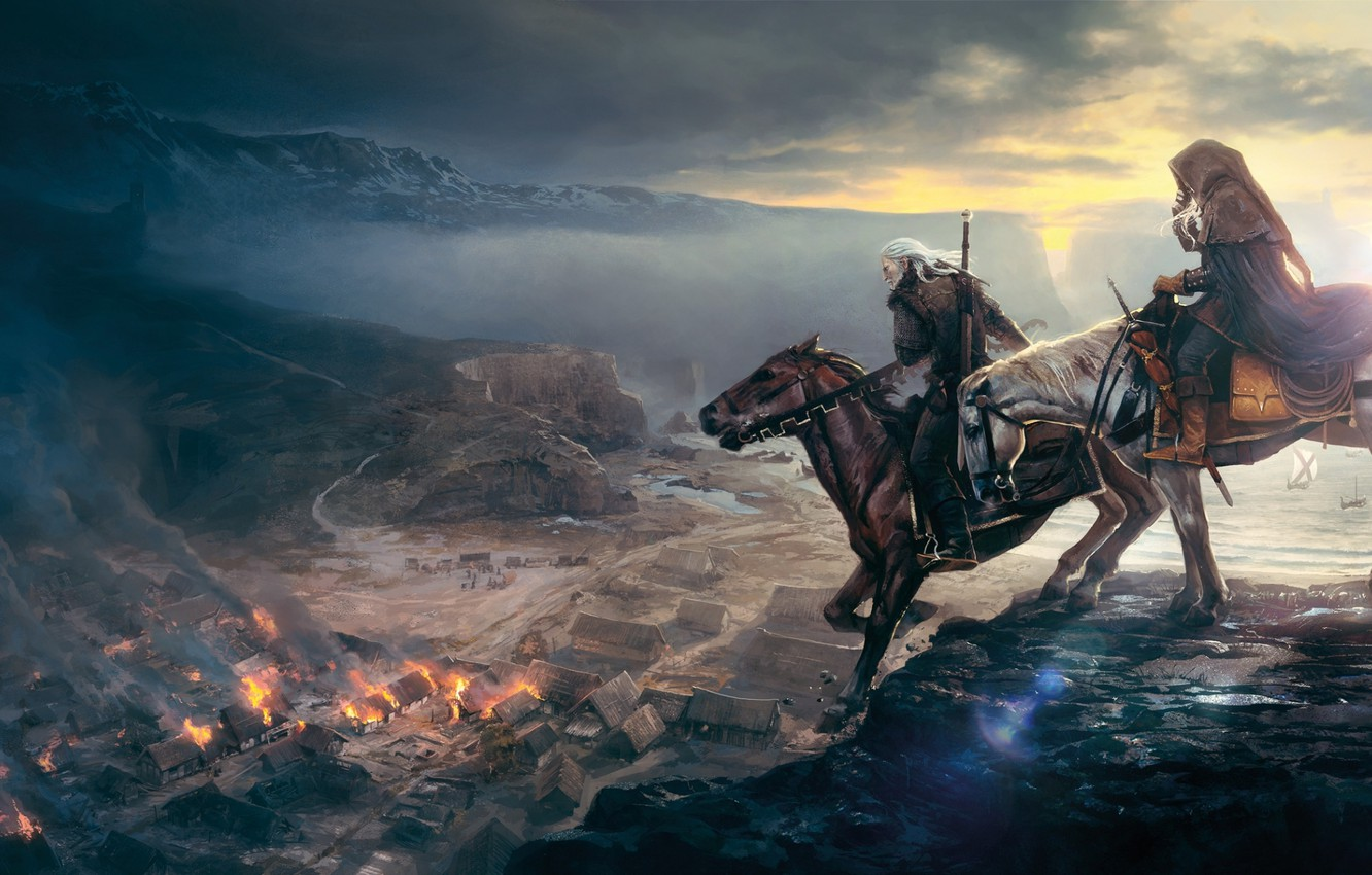 Photo wallpaper the city, horse, rider, The Witcher, The Witcher 3: Wild Hunt