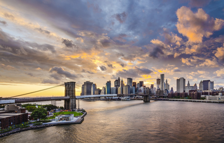Photo wallpaper clouds, bridge, building, New York, Brooklyn bridge, Manhattan, promenade, skyscrapers, Manhattan, New York City, Brooklyn …