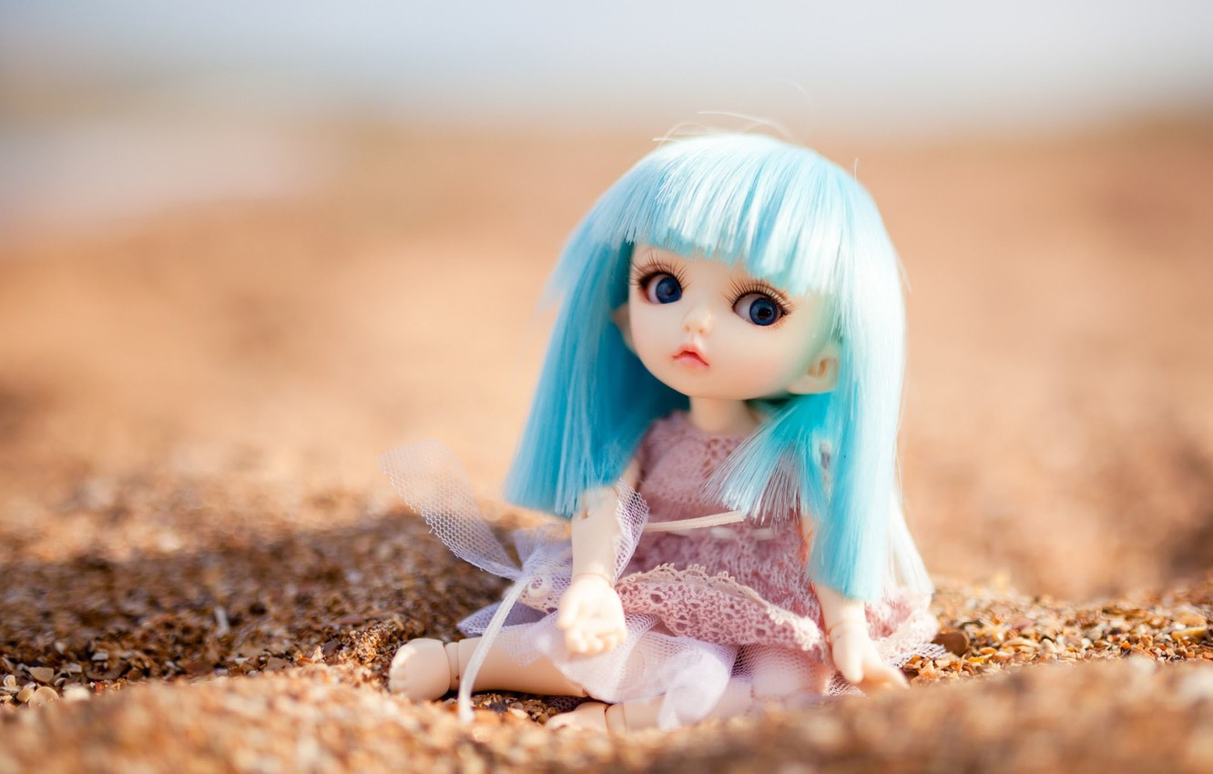 Photo wallpaper sand, toy, doll, sitting, blue hair