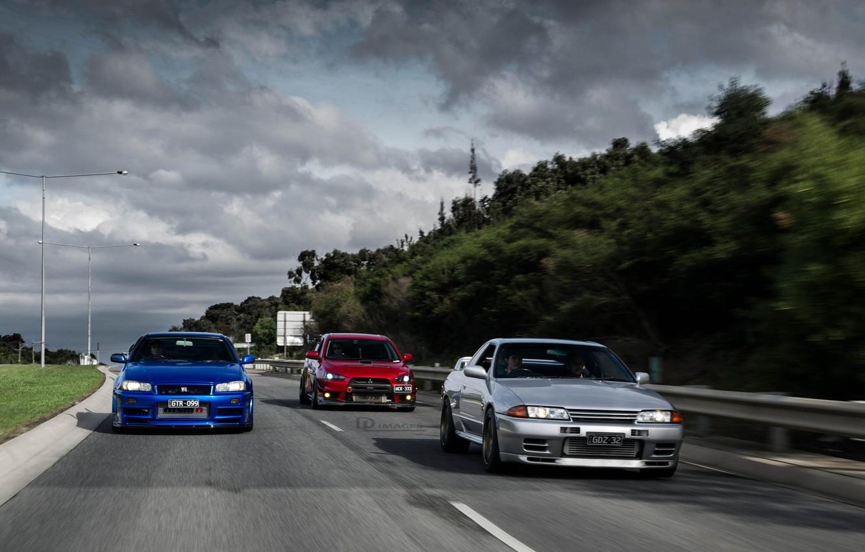 Photo wallpaper nissan, turbo, red, mitsubishi, road, skyline, japan, blue, jdm, tuning, evolution, evo, gtr, speed, r34, …