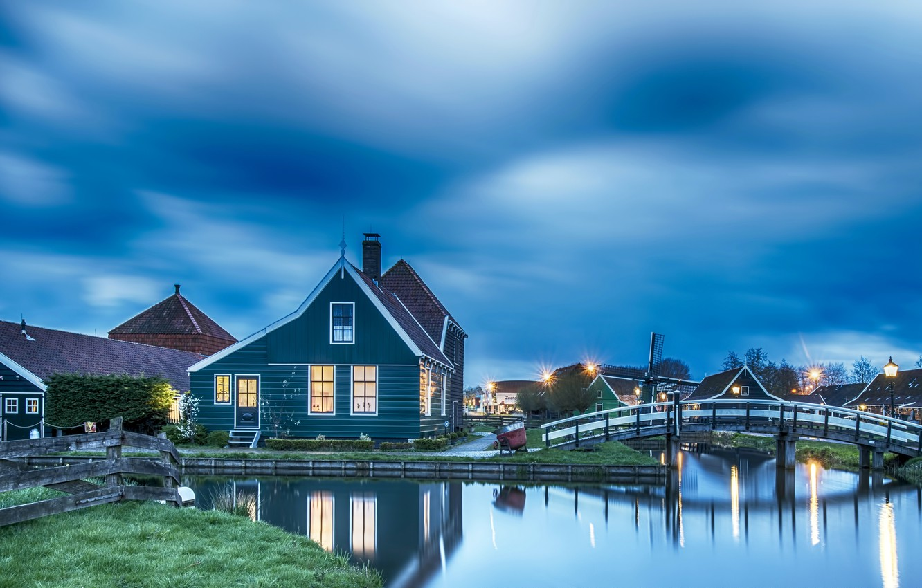 Photo wallpaper night, lights, Netherlands, Holland, the Museum under the open sky, Zaanse Schans, Zaanstad, Zaandam, Zaanstad