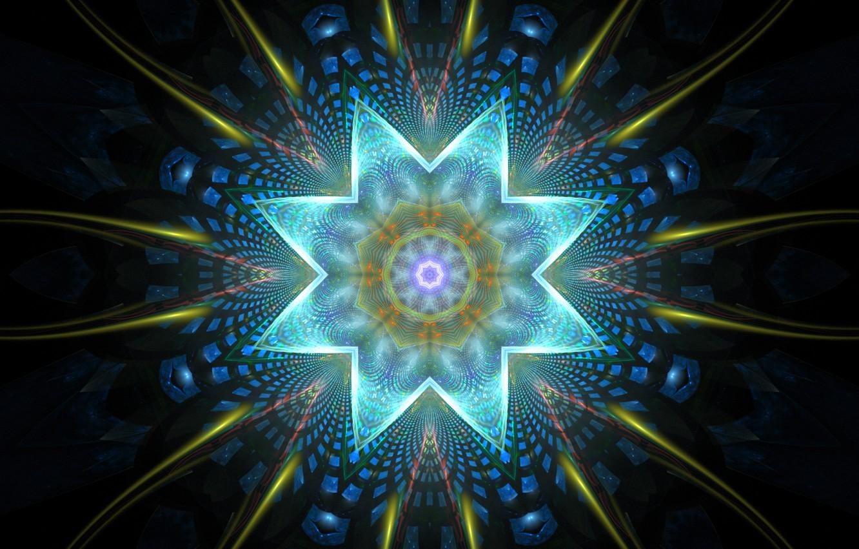 Photo wallpaper flower, rays, light, line, pattern, star, corners, petals, figure, symmetry
