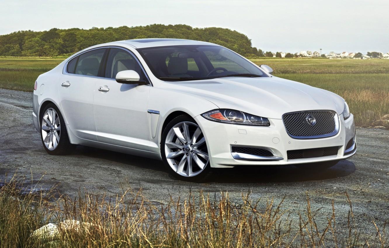 Photo wallpaper road, white, Jaguar, Jaguar, sedan, the front, 3.0, Ixef, AWD