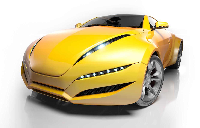 Photo wallpaper yellow, headlight, wheel, supercar