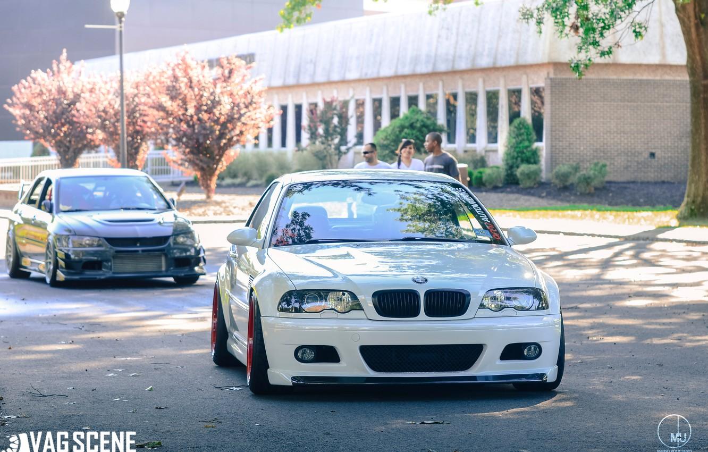 Photo wallpaper BMW, BMW, tuning, Lancer, Mitsubishi, E46, mitsubishi lancer evo