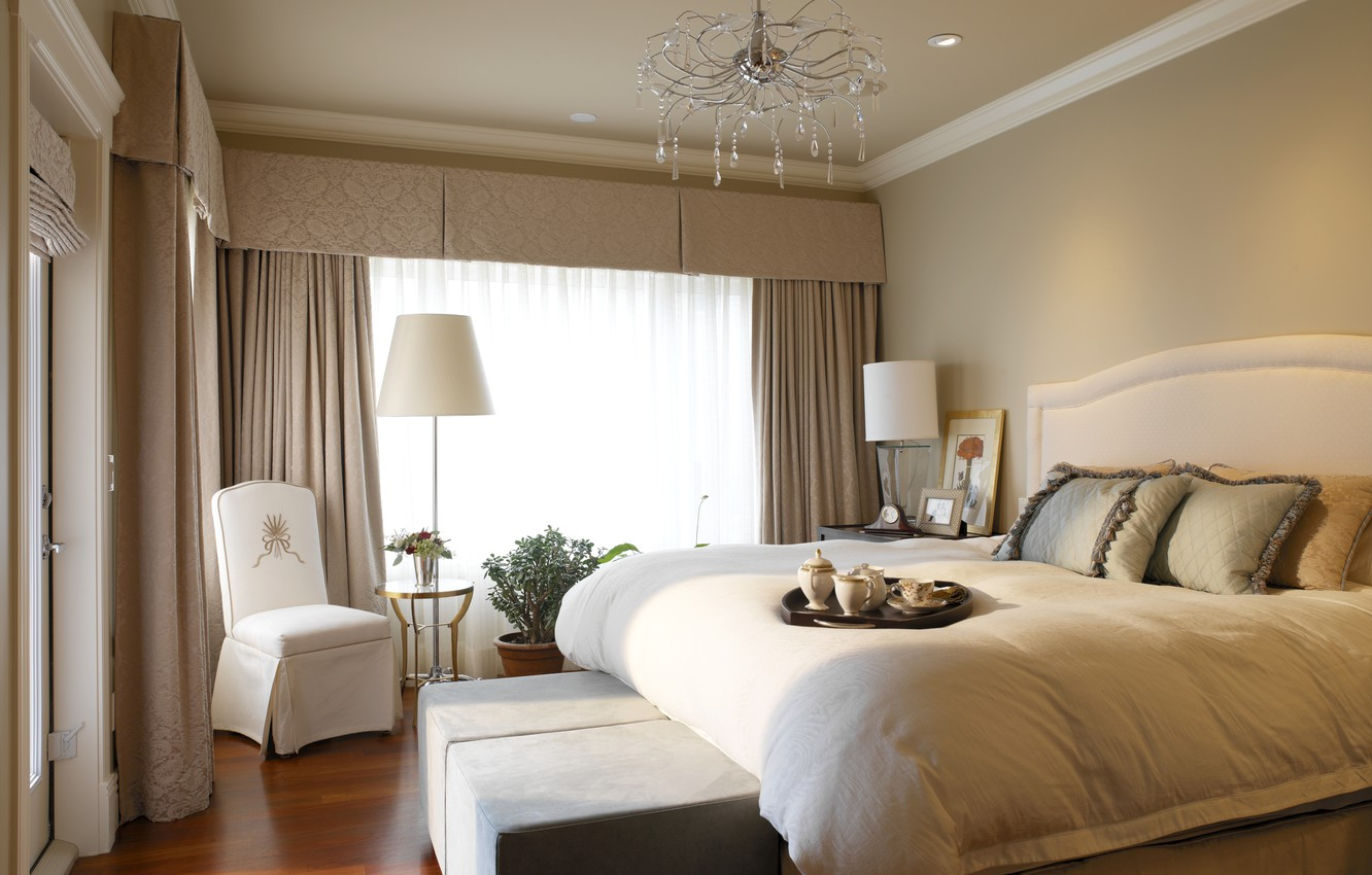 Photo wallpaper design, room, lamp, bed, interior, chair, pillow, beautiful, chandelier, curtains, bedroom, Breakfast in bed
