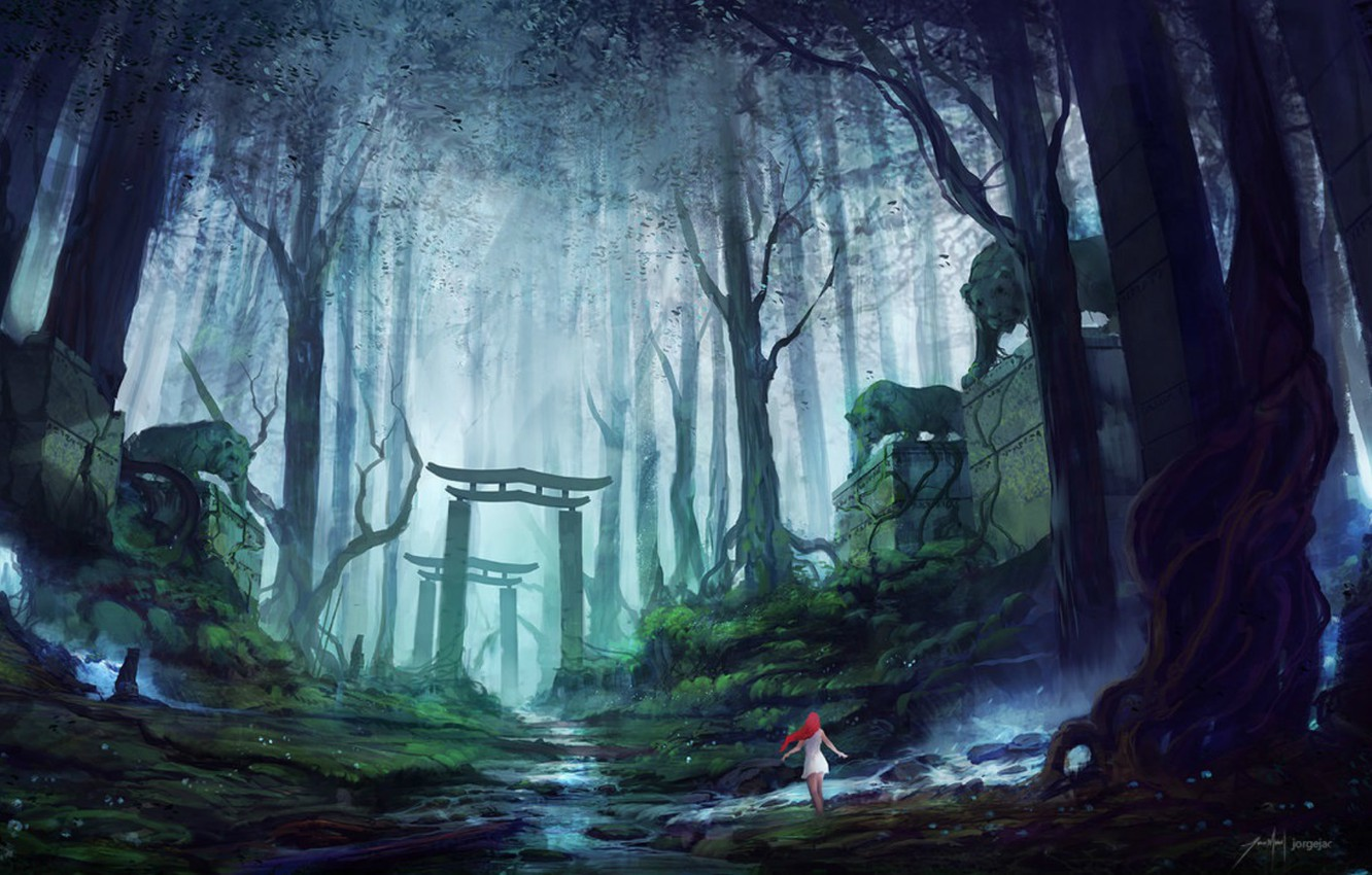 Photo wallpaper road, forest, girl, fog, gate, red, tigers, guardians, stone, Mysterious