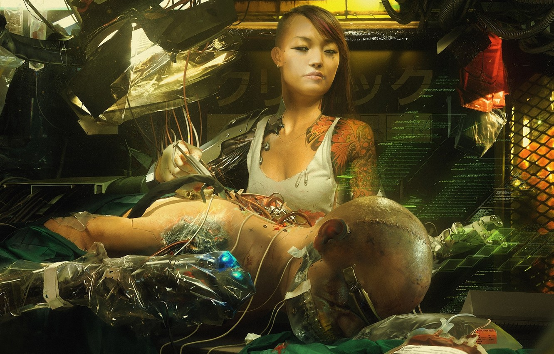 Photo wallpaper girl, fiction, interface, figure, art, girl, Asian, cyborg, cyberpunk, art, sci-fi, cyberpunk, technician, asian, cyborg, …