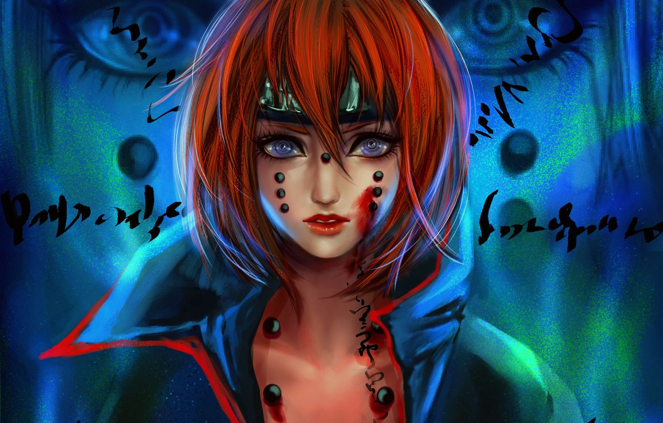Photo wallpaper look, girl, labels, blood, art, red, naruto, pain, rikamello