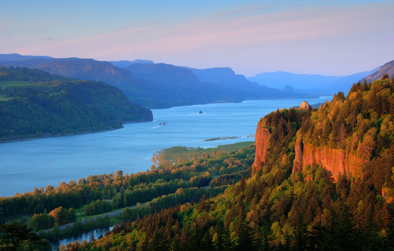 Photo wallpaper forest, mountains, nature, river, Columbia River