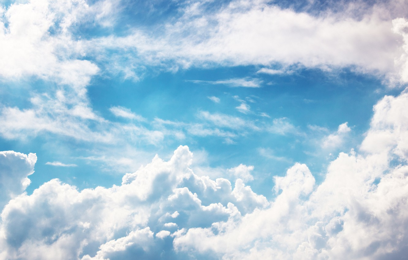 Photo wallpaper white, the sky, clouds, blue
