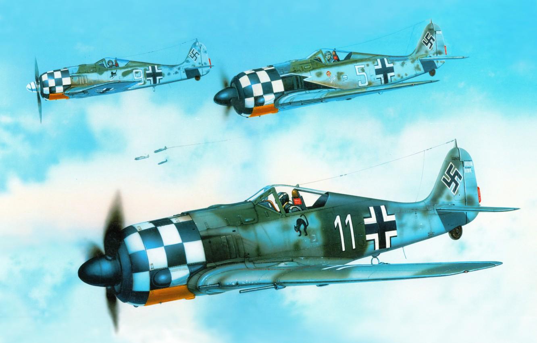 """Photo wallpaper the sky, figure, art, fighters, aircraft, WW2, German, single, personal markings, George Scott, """"Focke-Wulf """" …"""