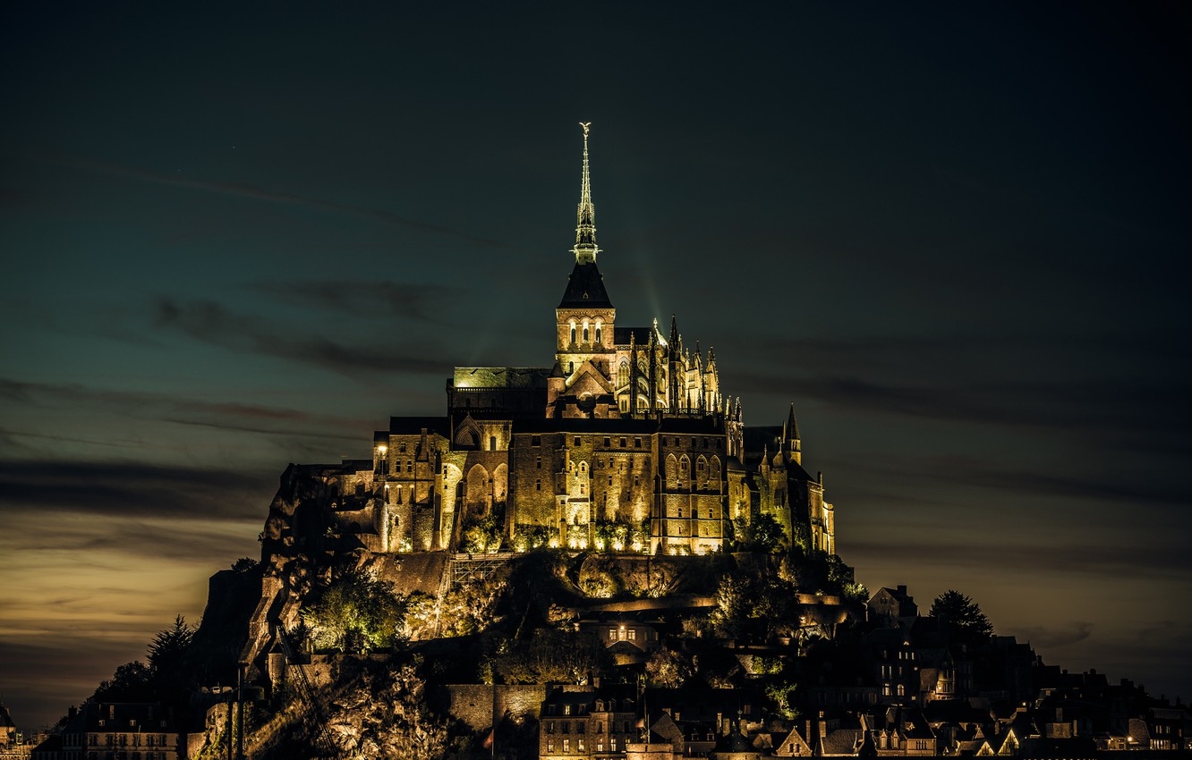 Photo wallpaper light, castle, France, island, the evening, fortress, France, island, castle, Normandy, Normandy, Mont-Saint-Michel, Mont Saint-Michel, …