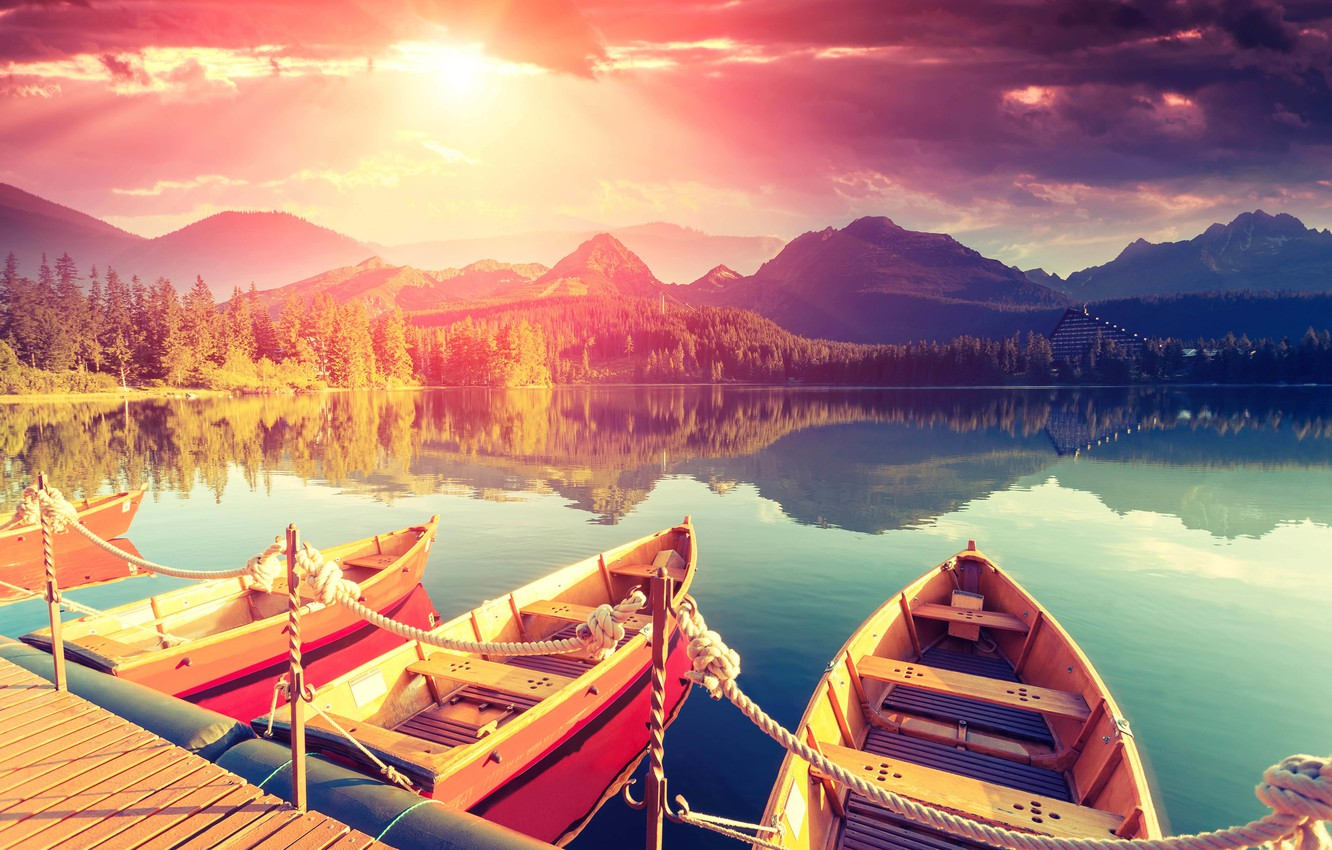 Photo wallpaper the sky, landscape, mountains, lake, stay, shore, calm, silence, boats, morning, blur, pier, summer, the …