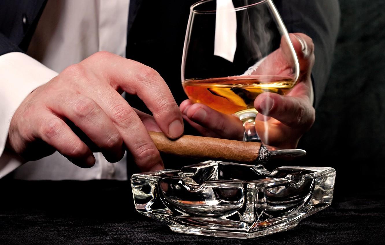 Photo wallpaper glass, cigar, whiskey, ashtray, tuxedo, male hands
